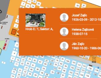 Interaktívna mapa hrobových miest  na našom cintoríne